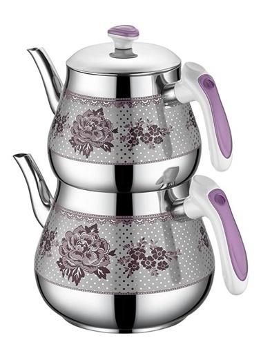 Özkent Kristal Mega Desenli Çaydanlık Lila Mor